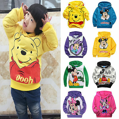 New Kids Boys Girls Mickey Minnie Mouse Hooded Hoodies Coats Jackets Tops 2-9Y