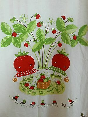 IKEA Torva Smultron Crib Duvet Cover Red White Stripes Strawberry Picnic Ladybug
