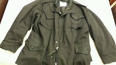 Vintage 1980s m-65 field jacket with liner made in usa rare black color XL