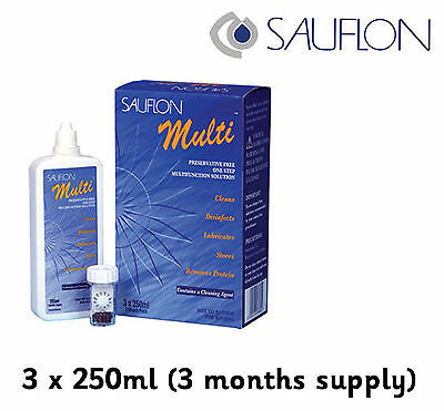 Sauflon Multi 3 x 250ml Contact Lens Solution one step peroxide system 3 Months.