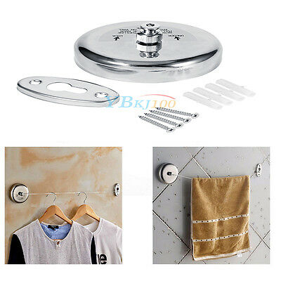 Silver 304 Stainless Steel Retractable Clothes Line Dry Indoor Outdoor Laundry