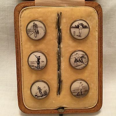 Rare Vintage Leather Cased Set of Gentlemens Lithograph Sporting Buttons/Studs