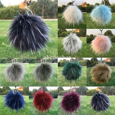 Faux Fur Pom-pom KeyChain Bag Charm Fluffy Cute Ball Keyring Pendant Dangle
