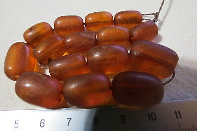 VERY OLD ANTIQUE natural Cognac Baltic amber Beads 19.0 gram. RARE! 老琥珀