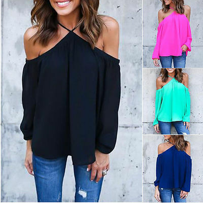 Women's Off Shoulder Tops Long Sleeve Shirt Casual Blouse Loose T-shirt US Stock