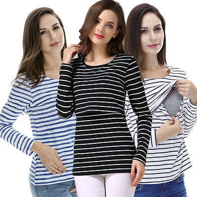 US Stock Long Sleeve Breastfeeding Tops Maternity Clothes Women Nursing T-shirt