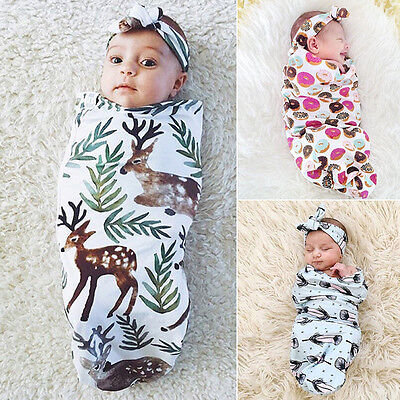 Baby Newborn Soft Wool Blanket Pram Crib Basket Girl Boy Unisex + Headband