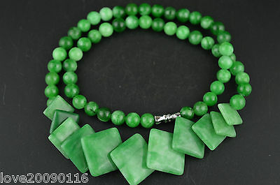 China Old Collectible Decorated Green Jade Burnish Carving Noble Rare Necklace