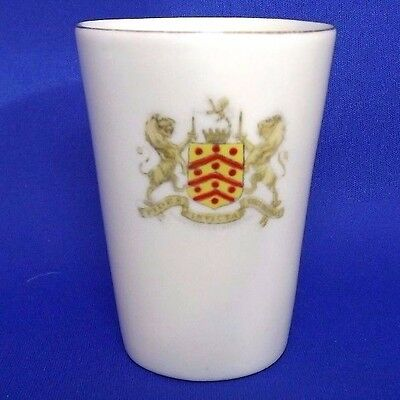 Vintage A&S ARCADIAN CRESTED CHINA - SMALL BEAKER - Coat of Arms of GLOUCESTER