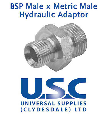 Metric Male x BSP Male Adaptor Hydraulic Steel Fitting Oil Water Air Connector
