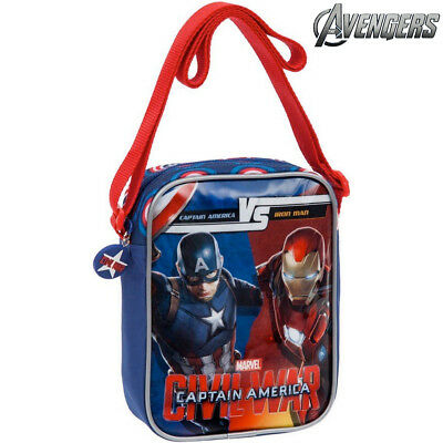Tracolla Per Bambini Capitan Ameriva VS Iron Man Civil War Poliestere Marvel