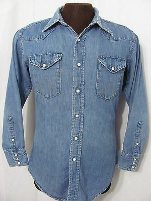 vintage 60s WRANGLER SANFORZIED DENIM WESTERN ROCKABILLY pearl snap fade shirt M
