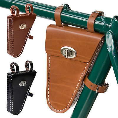 Hand Stitched Leather Bicycle Frame Fit Saddle Bag | Colours Tan Brown Black