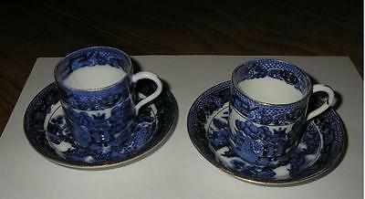 Antique Blue Willow Demitasse Cup And Saucer X 2  1903  Star China Co, England