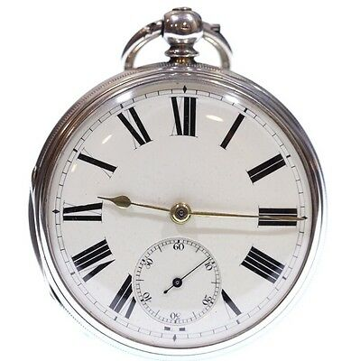 Very Large Heavy Antique Pocket Watch 1870 Solid Silver Fusee Lever. Serviced
