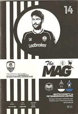 Notts County v Peterborough FA Cup 2nd round programme 4 December 2016