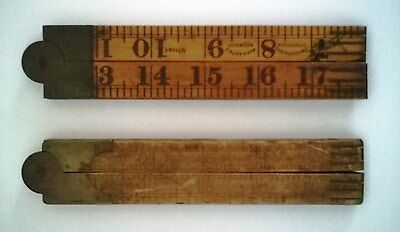 antique timber fold up rules / rulers
