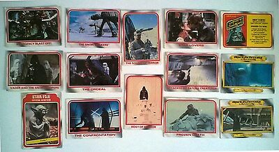 14 Collectable Star Wars, Empire Strikes Back trading cards from 1970's