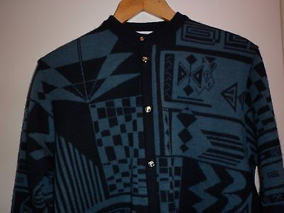 VINTAGE  PURE WOOL BLACK and TEAL CARDIGAN  SIZE 16 EXCELLENT CONDITION