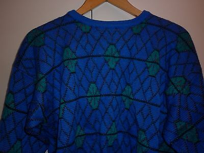 VINTAGE 1980s FUNKY BRIGHT SIZE M WOOL JUMPER EXCELLENT CONDITION