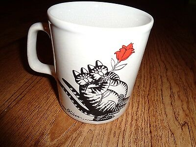 Vintage B Kliban Cat Coffee Cup Mug Couple Tango Dancing Rose Kiln Craft England