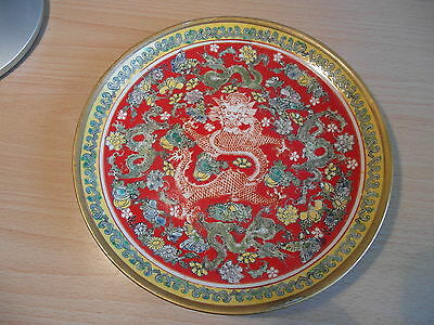 Stunning Chinese Five Dragon Five Claw  Butterfly & Flower Plate Bowl Signed