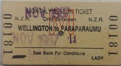New Zealand 1987 Railway Monthly Season Ticket Wellington To Paraparaumu