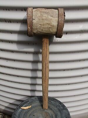 Very Rare Large Antique Wooden Mallet With Iron Straps – Pioneer Blacksmith Made