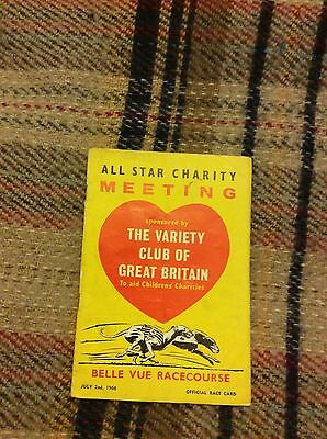 Original & Rare 1966 Belle Vue Race Card For Greyhound Racing. Charity Event.