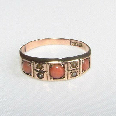Old antique seed pearl & coral gold ring size J 1/2