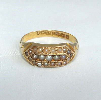 Old antique Victorian 15ct gold pearl ring size Q 1/2 Birmingham 1890