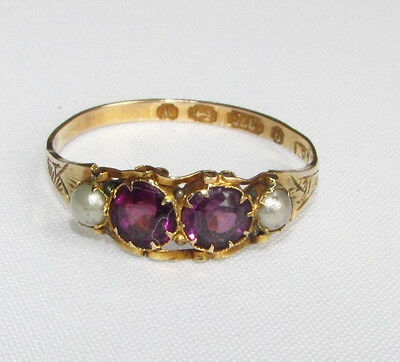 Antique Victorian gold ring amethyst gemstones & seed pearls size N 1/2 Birmingh