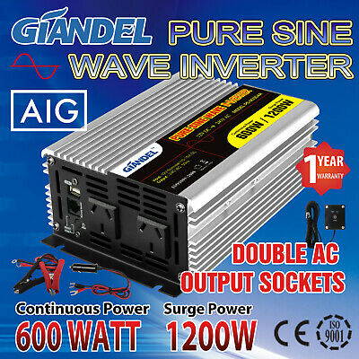 Pure Sine Wave Power Inverter600W/1200W Max12V-240V+Remote Controller 4.5M Cable