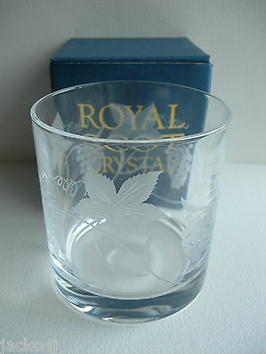 NEW & BOXED ROYAL SCOT CRYSTAL VINE PATTERN 15oz LOF OLD FASHIONED TUMBLER