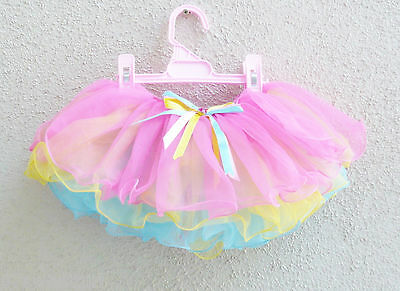 Yellow Fuchsia blue layers tulle toddler girl tutu skirt dancing size  2T 3T 4T