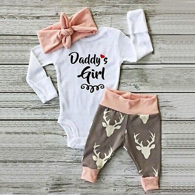 3pcs Newborn Kids Baby Girls Romper Jumpsuit Bodysuit Clothes Infant Outfits Set