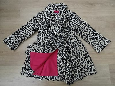 Girls Age 5 Leopard Print Winter Coat Frilly Fleece Pink Lining Diamate Buttons