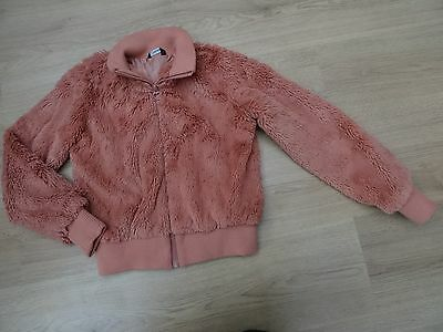 Girls Age 9-10 Fluffy Pink Winter Coat Bomber Jacket