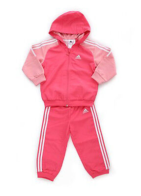Size 12-18 Months Old - Adidas 3 Stripes Hooded Full Mesh Lined Tracksuit - Pink