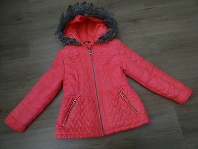 Girls Age 7-8 Bright Pink Winter Coat With Faux Fur Hood Slightly Fitted