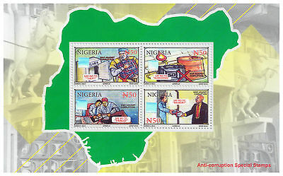 2016 Nigeria -NEW ISSUE ANTI-CORRUPTION - HOLOGRAMS -Miniature Sheet
