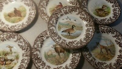 Spode woodland set of 7 salad plates includes 7 different designs-new