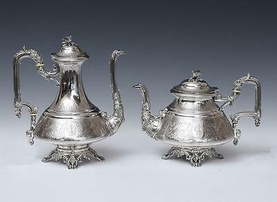 ANTIQUE 19th C. Flamant & Fils FRENCH .950 SILVER TEAPOT + COFFEE POT