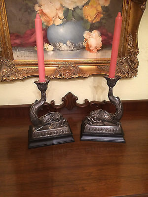 Antique Vintage Silver Plate Fish Candle Sticks Holders Bookends Mantle Pieces