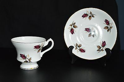 Royal Imperial Finest Bone China Red Rosebuds Cup and Saucer