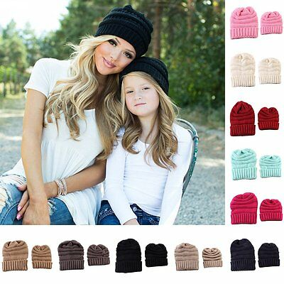 2Pcs Women Mother Baby Child Warm Winter Knit Beanie Hat Knitted Crochet Ski Cap