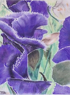 Purple Flowers drawing pastels art signed original abstract or real