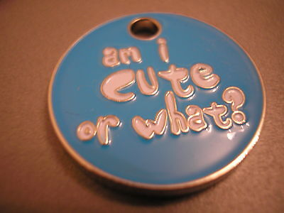 Personalised Engraved Comical Pet Id Tag -Cute Or What?- Free P&p & Engraving