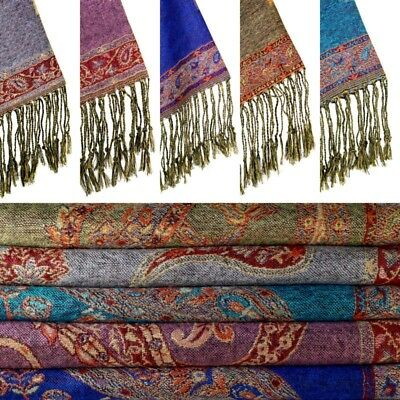 High Quality 100% Pashmina Wool Soft Feel Large Scarf Shawl Wrap Paisley Design