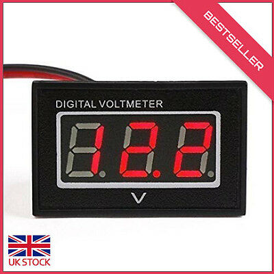 Waterproof 12V LED Digital Car/Auto Voltmeter Motorcycle Battery Monitor (Red)